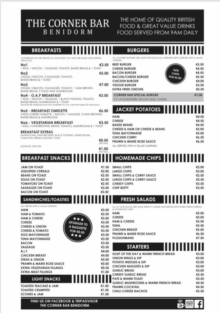 corner bar benidorm menu1