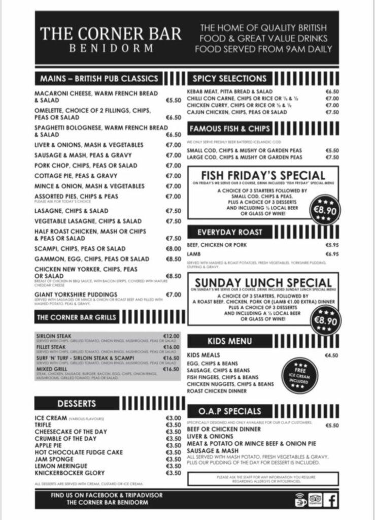 corner bar benidorm menu2